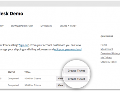 Create Ticket Button on WooCommerce My Account section